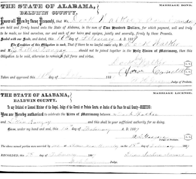 Dock Walker & Lily Ranzy's Marriage License: 16 Feb. 1889 Baldwin County, Alabama.