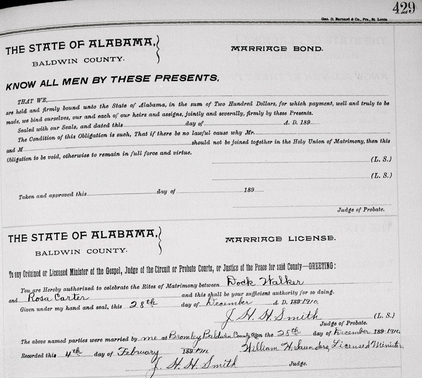 Dock Walker and Rosie Carter's Marriage License: 28 December 1910 Baldwin County, Alabama.