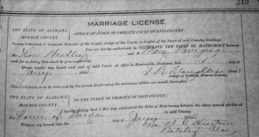 Lonnie Wesley & Mary Jane Burgess 1915