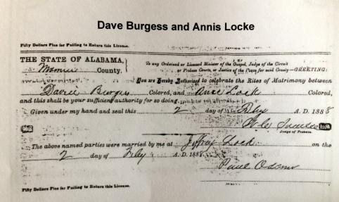 Dave Burgess and Annie Lee Locke 1888