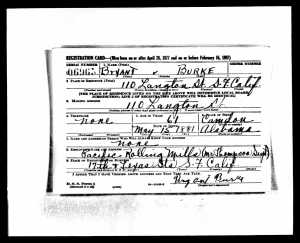 Bryant Burke WWII Draft  Registration Card
