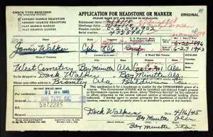 U.S.HeadstoneApplicationsforMilitaryVeterans1925-1963ForJamesWalker