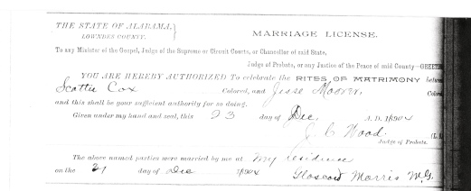 Scott Cox and Jessie Belle Moorer Marriage License 1904 Lowndes County